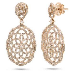 14k Rose Gold Diamond Lace Earring - 2.18ct