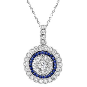 Diamond & 0.17ct Blue Sapphire 14k White Gold Pendant - 1.08ct