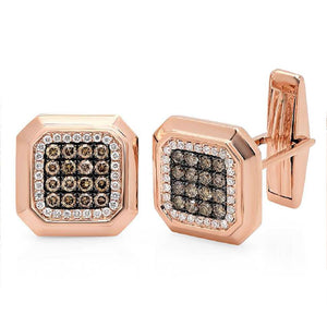 14k Rose Gold White & Champagne Diamond Cuff Links - 1.08ct