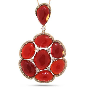 Diamond & 19.68ct Red Agate 14k Rose Gold Pendant - 0.48ct