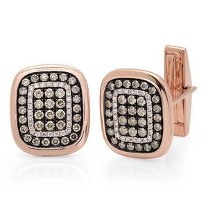 14k Rose Gold White & Champagne Diamond Cuff Links - 1.45ct
