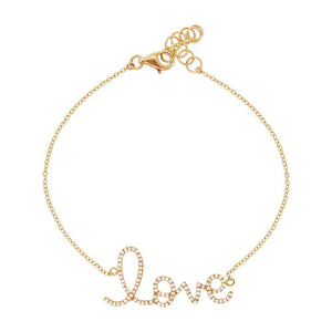 14k Yellow Gold Diamond ''Love'' Bracelet - 0.17ct