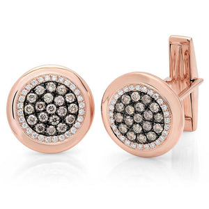 14k Rose Gold White & Champagne Diamond Cuff Links - 1.00ct