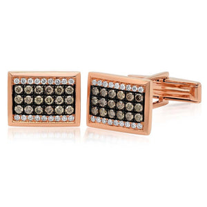 14k Rose Gold White & Champagne Diamond Cuff Links - 1.13ct
