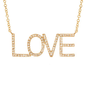 14k Yellow Gold Diamond ''Love'' Necklace - 0.21ct