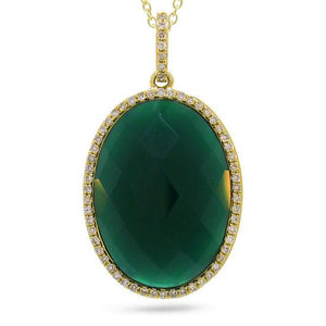 Diamond & 10.01ct Green Agate 14k Yellow Gold Pendant - 0.19ct