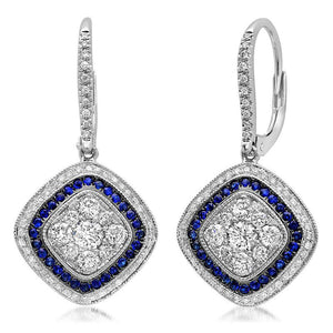 Diamond & 0.34ct Blue Sapphire 14k White Gold Earring - 1.07ct