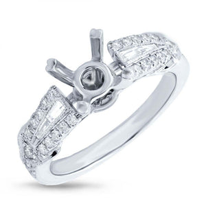 14k White Gold Diamond Semi-mount Ring - 0.45ct
