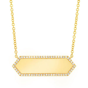 14k Yellow Gold Diamond Bar ID Pendant