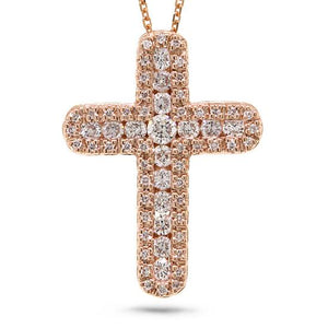 14k Rose Gold Diamond Cross Pendant - 0.60ct