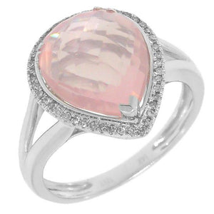 Diamond & 4.73ct Rose Quartz 14k White Gold Ring - 0.11ct