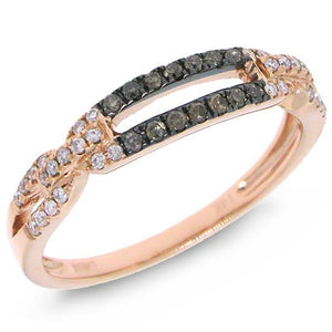 14k Rose Gold White & Champagne Diamond Lady's Ring - 0.23ct