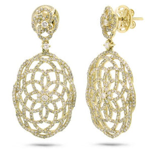 14k Yellow Gold Diamond Lace Earring - 2.18ct