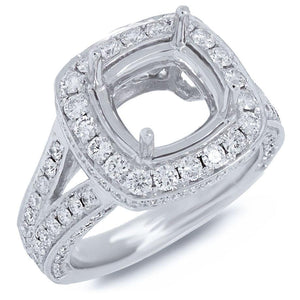 14k White Gold Diamond Semi-mount Ring - 1.59ct
