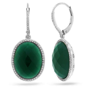 Diamond & 14.25ct Green Agate 14k White Gold Earring - 0.38ct