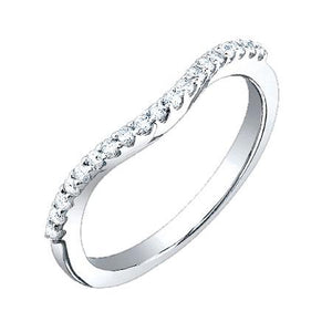 18k White Gold Diamond Lady's Curved Band