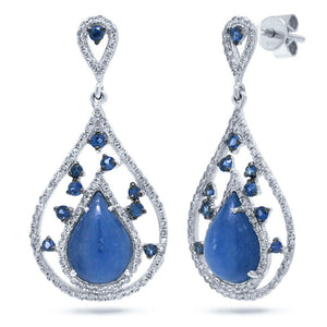 Diamond & 5.38ct Blue Sapphire & Kyanite 14k White Gold Earring - 0.60ct