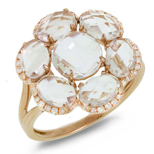 Diamond & 3.76ct White Topaz 14k Rose Gold Ring - 0.14ct