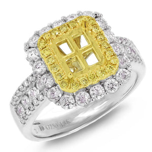 18k Two-tone Gold Natural Yellow Diamond Semi-mount Ring - 1.14ct