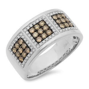 14k White Gold White & Champagne Diamond Men's Band - 0.97ct