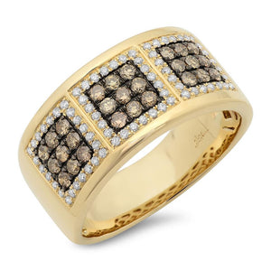 14k Yellow Gold White & Champagne Diamond Men's Band - 0.97ct