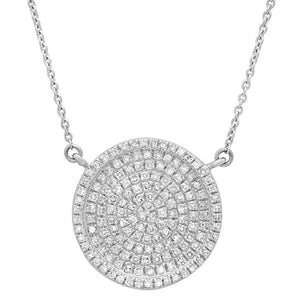 14k White Gold Diamond Pave Circle Necklace - 0.47ct