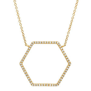 14k Yellow Gold Diamond Hexagon Necklace - 0.25ct