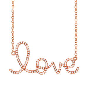 14k Rose Gold Diamond ''Love'' Pendant - 0.18ct