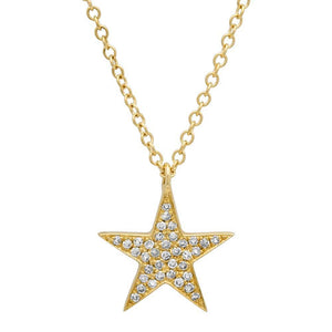 14k Yellow Gold Diamond Star Pendant - 0.09ct