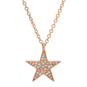 14k Rose Gold Diamond Star Pendant - 0.09ct