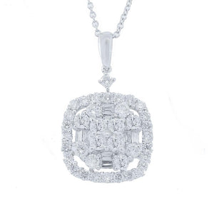 18k White Gold Diamond Pendant - 1.33ct