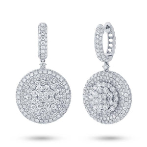 18k White Gold Diamond Pave Earring - 7.43ct
