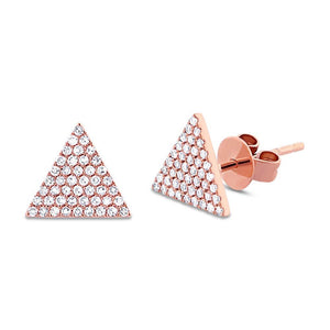 14k Rose Gold Diamond Pave Triangle Earring - 0.24ct