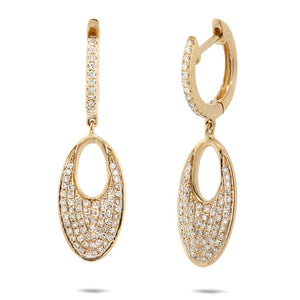 14k Yellow Gold Diamond Pave Earring - 0.43ct