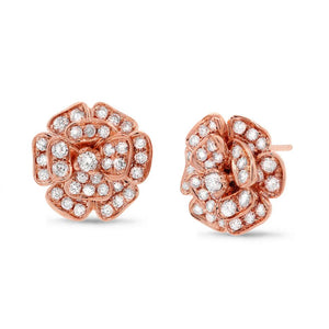 14k Rose Gold Diamond Flower Earring - 1.62ct
