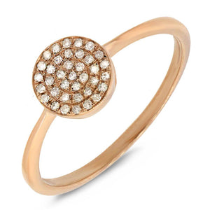 14k Yellow Gold Diamond Pave Lady's Ring - 0.11ct