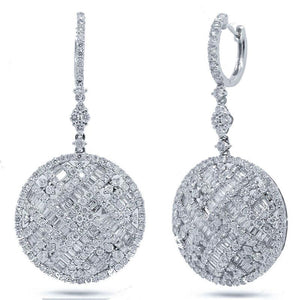 18k White Gold Diamond Earring - 5.91ct