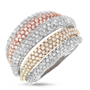 14k Three-tone Gold Diamond Pave Lady's Ring - 3.17ct