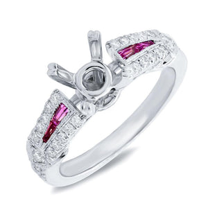 Diamond & 0.24ct Ruby 14k White Gold Semi-mount Ring - 0.32ct