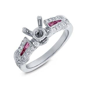 Diamond & 0.21ct Pink Sapphire 14k White Gold Semi-mount Ring - 0.32ct
