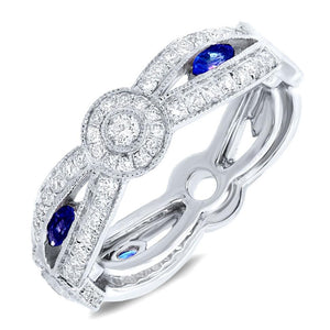 Diamond & 0.35ct Blue Sapphire 14k White Gold Lady's Ring - 0.82ct