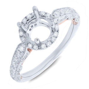 14k Two-tone Rose Gold Diamond Semi-mount Ring - 0.62ct