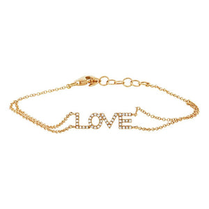 14k Yellow Gold Diamond ''Love'' Bracelet