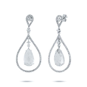 Diamond & 4.52ct White Topaz 14k White Gold Earring - 0.54ct