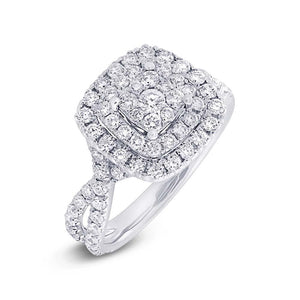 14k White Gold Diamond Cluster Engagement Ring - 1.37ct