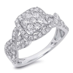 14k White Gold Diamond Cluster Engagement Ring - 0.99ct
