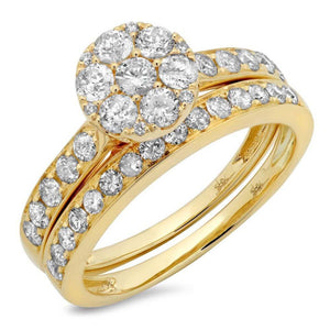 14k Yellow Gold Diamond Cluster Wedding Set - 1.25ct