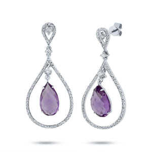 Diamond & 4.36ct Amethyst 14k White Gold Earring - 0.54ct