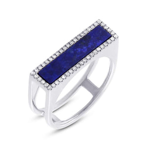 Diamond & 1.06ct Lapis 14k White Gold Lady's Ring - 0.15ct