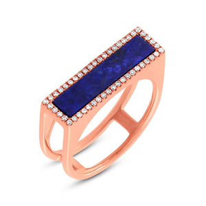 Diamond & 1.06ct Lapis 14k Rose Gold Lady's Ring - 0.15ct